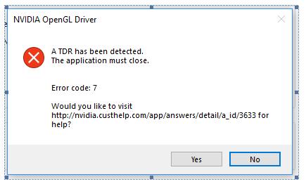 nvidia opengl driver error code 2