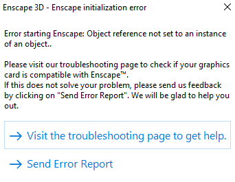 Enscape 2 5 won't open - Object reference not set to an instance of